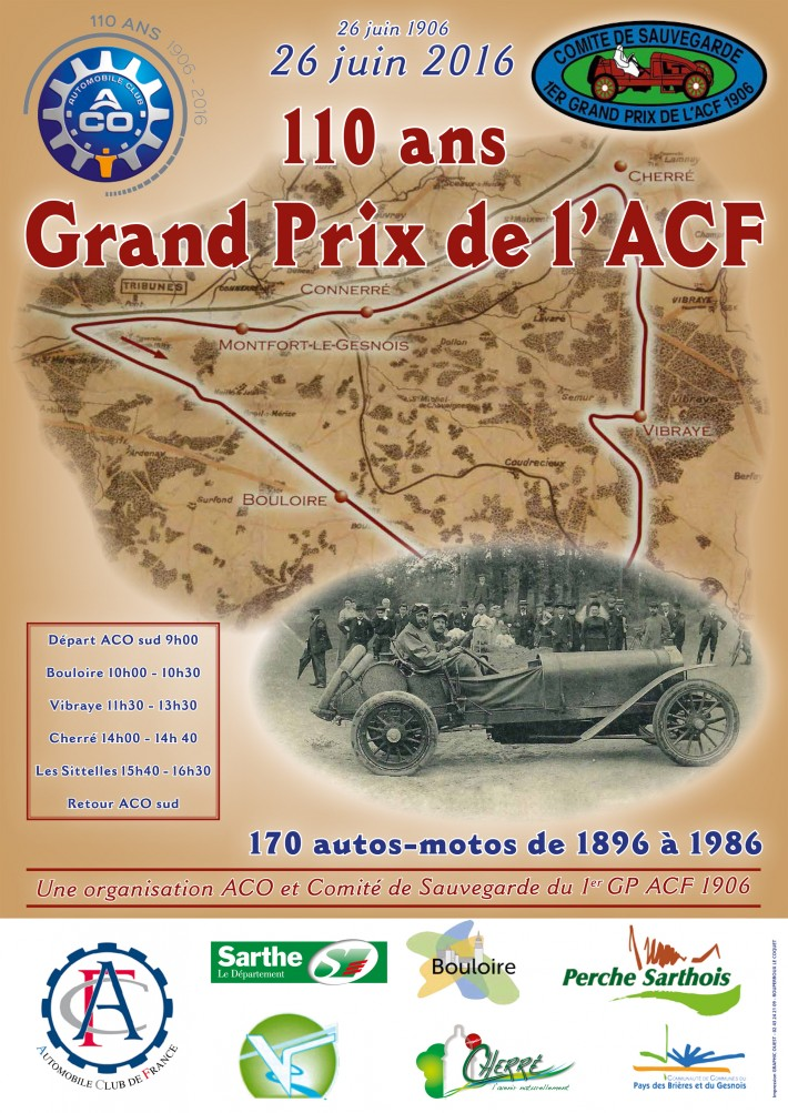 110e anniversaire du grand prix de l acf de 1906 aco automobile club de l 39 ouest. Black Bedroom Furniture Sets. Home Design Ideas