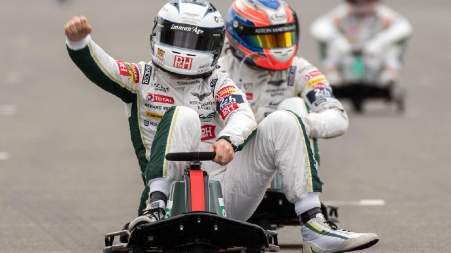 The Aston Martin drivers in their own Crazy Cart race!