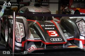 An Audi and a BMW from the 24 Hours of Le Mans exhibited at Petit Le Mans